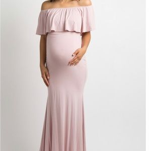 Maternity photoshoot off the shoulder mermaid gown